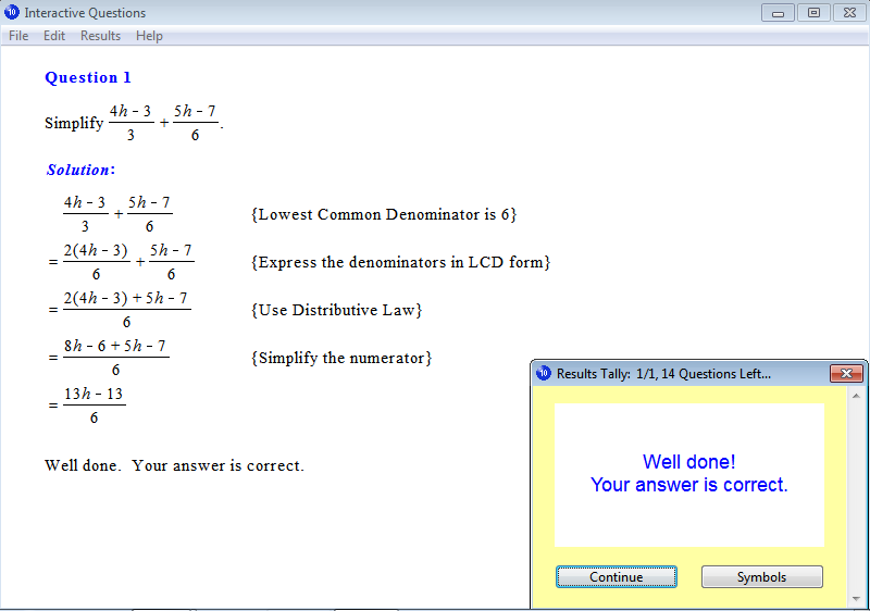 Solution for a question from Year 10 Interactive Maths, Chapter 11: Rational Expressions, Exercise 22: Addition and Subtraction of Algebraic Expressions.