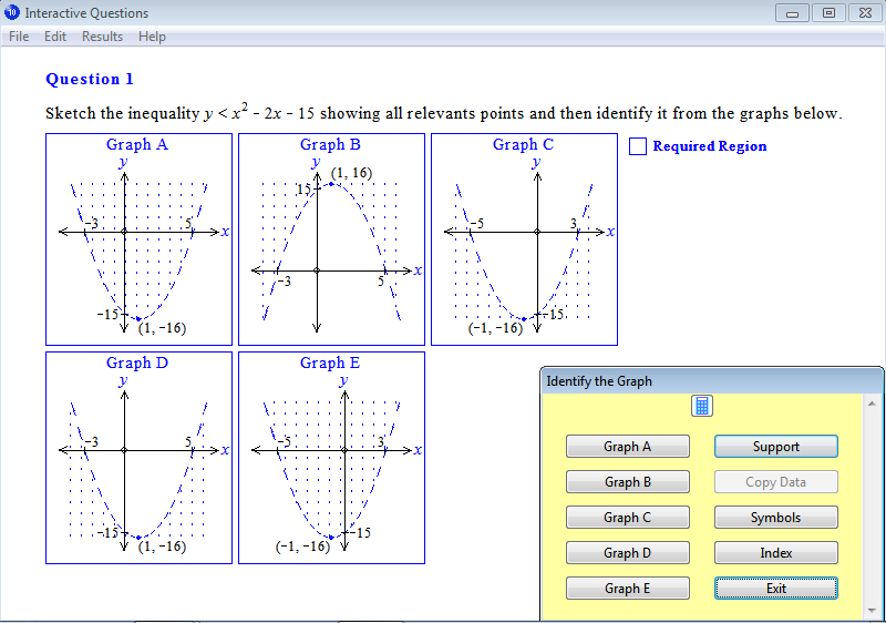 Question from Year 10 Interactive Maths, Chapter 13: Quadratic Graphs ...