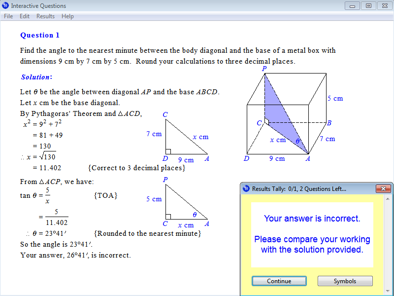 Solution for a question from Year 10 Interactive Maths, Chapter 15: Trigonometry, Exercise 28: Three-Dimensional Problems.