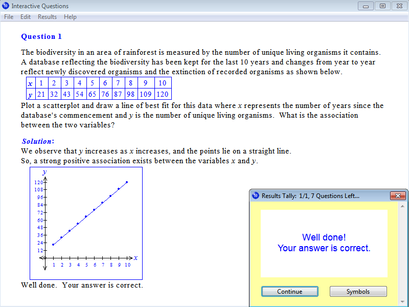 Solution for a question from Year 10 Interactive Maths, Chapter 16: Statistics, Exercise 11: Line of Best Fit.