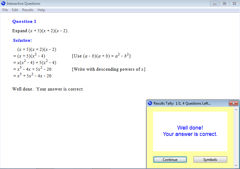 Solution for a question from Year 10 Interactive Maths, Chapter 1: Algebraic Expressions, Exercise 17: Expanding Three Terms.