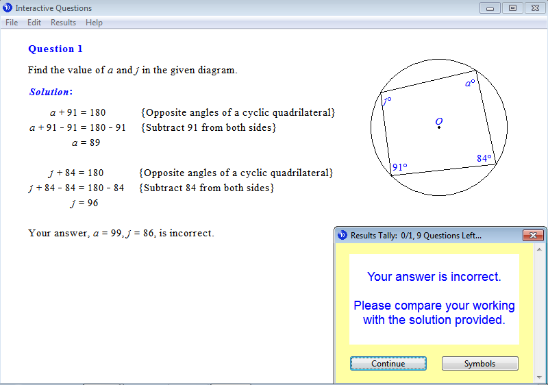 Solution for a question from Year 10 Interactive Maths, Chapter 6: Geometry, Exercise 23: Cyclic Quadrilaterals.