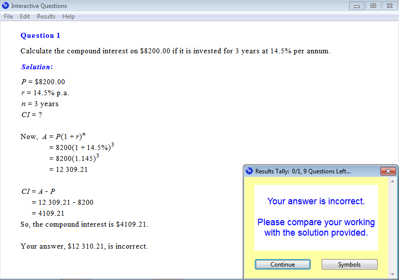Solution for a question from Year 10 Interactive Maths, Chapter 7: Consumer Arithmetic, Exercise 22: Compound Interest.
