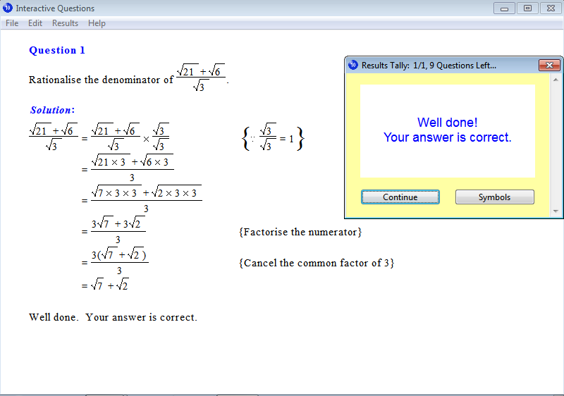 Solution for a question from Year 10 Interactive Maths, Chapter 9: Surds, Exercise 21: Rationalisation of the Denominator.