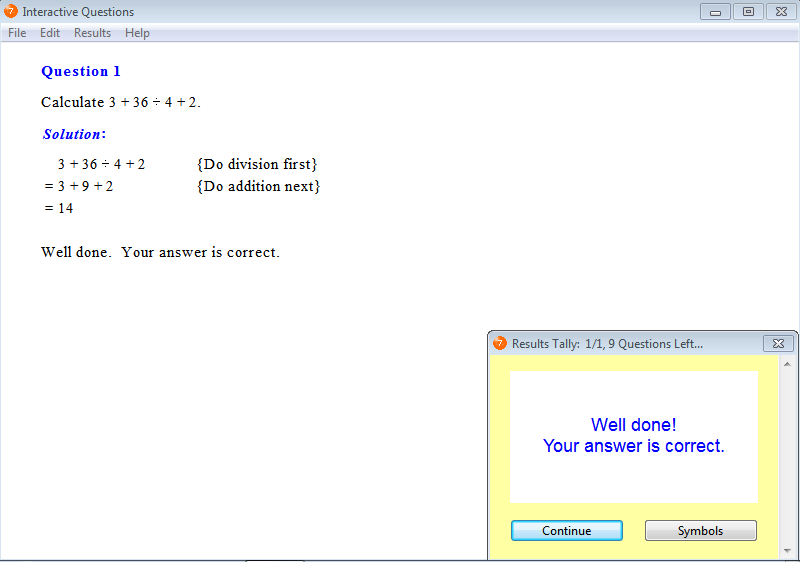 Solution for a question from Year 7 Interactive Maths, Chapter 1: Whole Numbers, Exercise 16: Order of Operations.