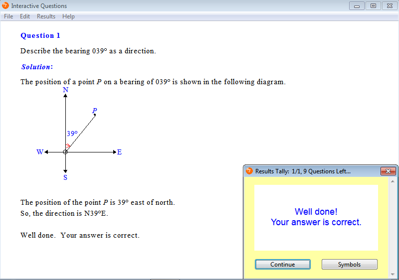 Solution for a question from Year 7 Interactive Maths, Chapter 8: Angles, Exercise 11: Direction.
