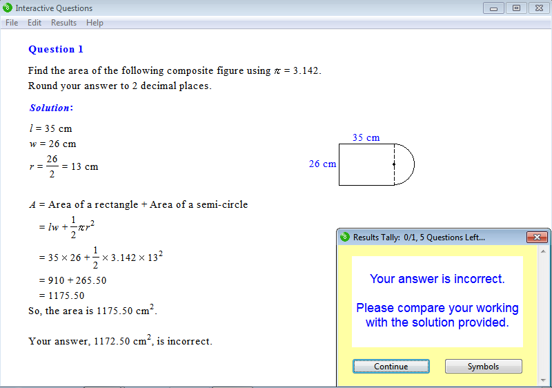 Solution for a question from Year 8 Interactive Maths, Chapter 12: Area of Plane Figures, Exercise 15: Area of a Composite Figure.