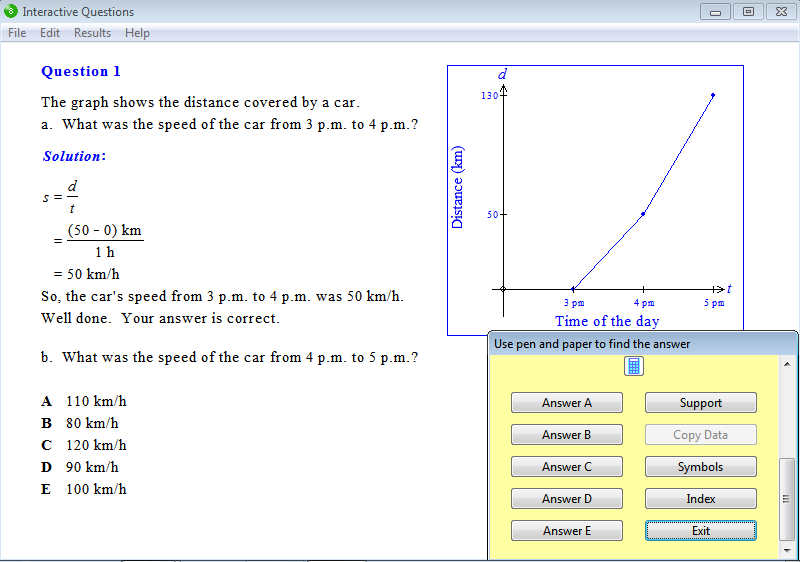 Question from Year 8 Interactive Maths, Chapter 14: Rates, Exercise 9: Travel Graphs.