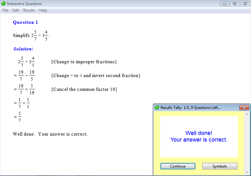 Solution for a question from Year 8 Interactive Maths, Chapter 2: Fractions and Decimals, Exercise 11: Division of Fractions.