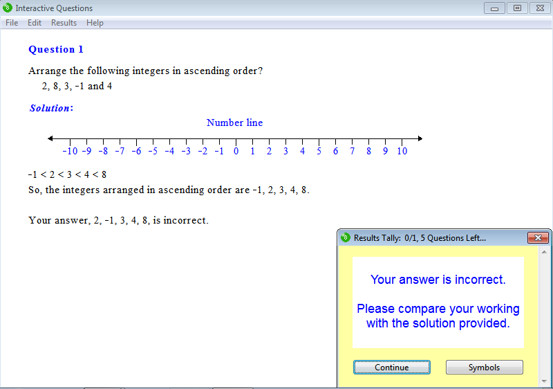 Solution for a question from Year 8 Interactive Maths, Chapter 3: Integers, Exercise 4: Integers.