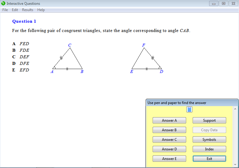 Question from Year 8 Interactive Maths, Chapter 9: Reasoning in Geometry, Exercise 16: Congruent Triangles.