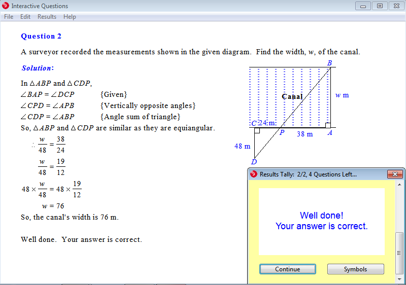 Solution for a question from Year 9 Interactive Maths, Chapter 13: Geometry, Exercise 24: Similar Triangles - Problem Solving.