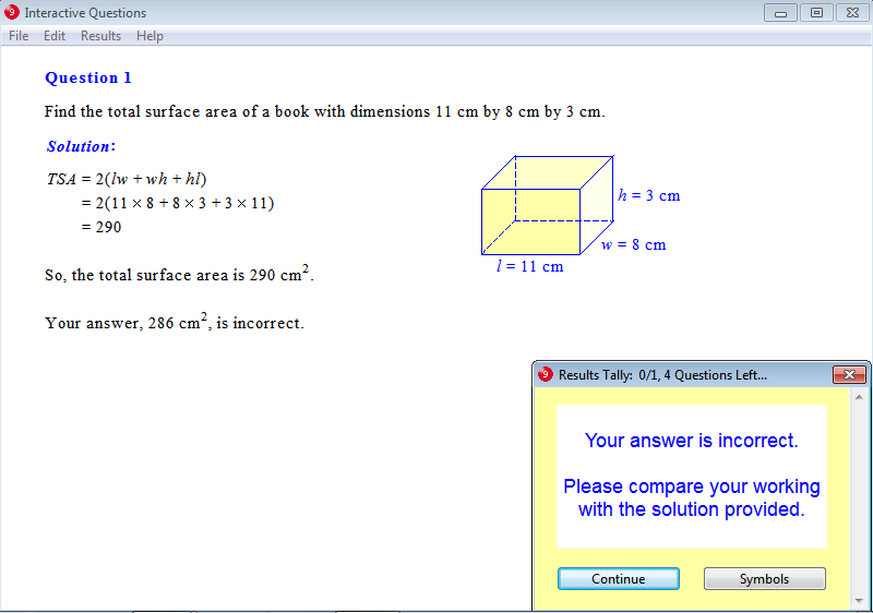 Solution for a question from Year 9 Interactive Maths, Chapter 14: Measurement, Exercise 16: Total Surface Area of a Cuboid.