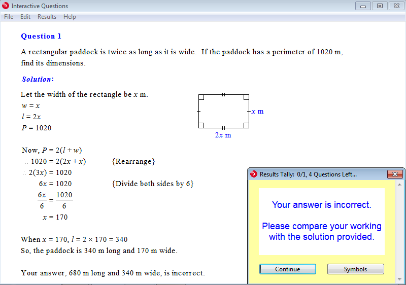 Solution for a question from Year 9 Interactive Maths, Chapter 2: Linear Equations and Inequalities, Exercise 16: Problem Solving.