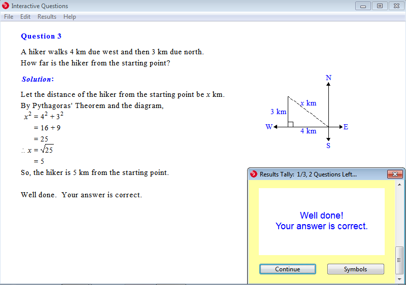 Solution for a question from Year 9 Interactive Maths, Chapter 3: Pythagoras' Theorem, Exercise 15: Navigation Problems.