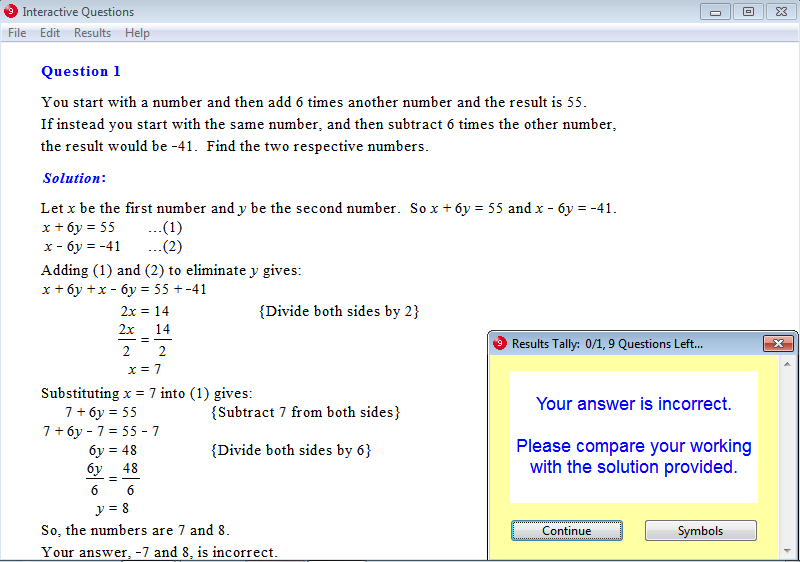 Solution for a question from Year 9 Interactive Maths, Chapter 5: Simultaneous Equations, Exercise 9: Problem Solving.