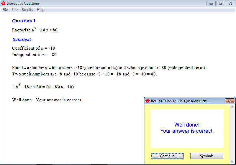 Solution for a question from Year 9 Interactive Maths, Chapter 8: Factors, Exercise 18: Factorisation of Quadratic Trinomials.